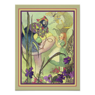 Vintage Print Alice and the Caterpillar  12 x 16