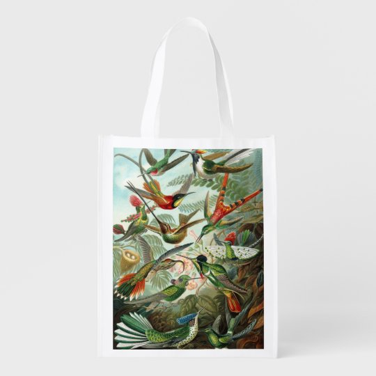 Vintage Print Hummingbirds Reusable Grocery Bags