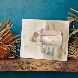 """Vintage Print """"Little Beachcombers"""" Art Plaque"""