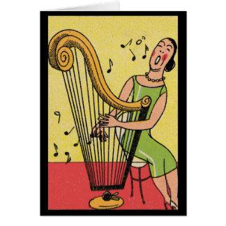 Vintage Print of Woman Playing Harp Card
