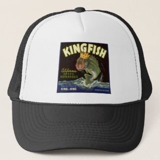 Vintage Product Can Label Art, Kingfish Asparagus Trucker Hat
