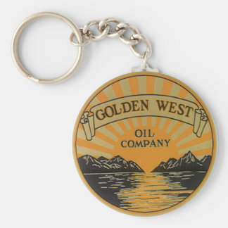 Vintage Product Label Art, Golden West Oil Company Basic Round Button Keychain