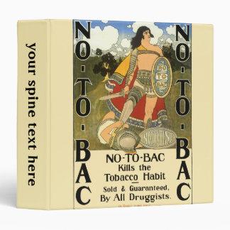 Vintage Product Label Art, No To Bac, Quit Smoking Vinyl Binders