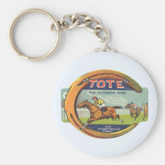 Vintage Product Label Art, Tote Tonic Basic Round Button Keychain