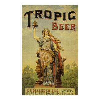 Vintage Product Label Art, Tropic Beer Gladiator Poster