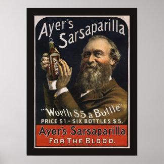 Vintage Product Label, Ayer's Sarsaparilla Drink Poster
