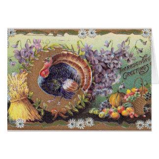 Vintage proud turkey celebrating the big day! card