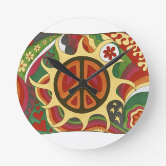 Vintage Psychedelic Flaming Peace Clocks