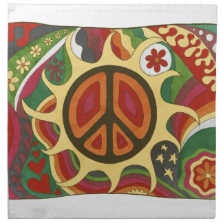 Vintage Psychedelic Flaming Peace Napkin