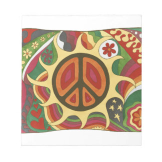 Vintage Psychedelic Flaming Peace Notepad