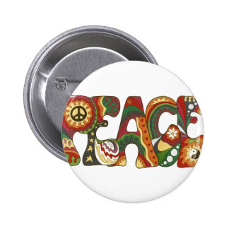 Vintage Psychedelic Peace 2 Inch Round Button