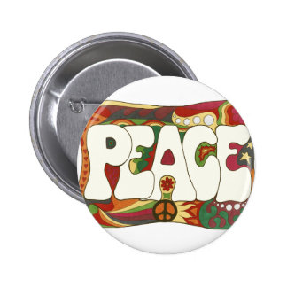 Vintage Psychedelic Peace and Love 2 Inch Round Button
