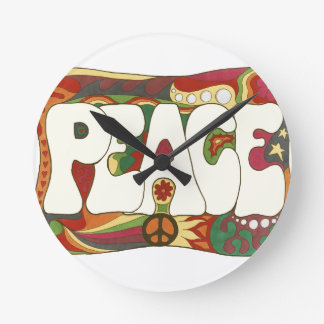 Vintage Psychedelic Peace and Love Wall Clock