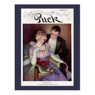 Vintage Puck Magazine Cover - At the Play Postcard
