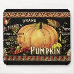 Vintage Pumpkin Label Art Butterfly Brand Mouse Pad
