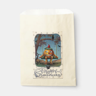 Vintage Pumpkin Man on a Swing Halloween Favour Bag