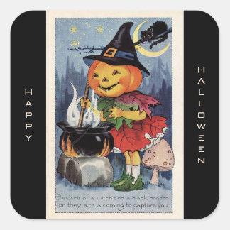 Vintage Pumpkin Witch Happy Halloween Square Sticker