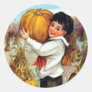 Vintage Pumpkins Classic Round Sticker