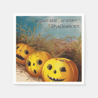 Vintage pumpkins Halloween Holiday party napkins Paper Napkin