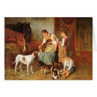 Vintage - Puppies Meet Baby, Card