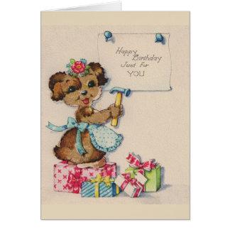Vintage Puppy Birthday Greeting Card