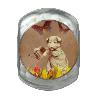 Vintage Puppy Flowers Butterfly