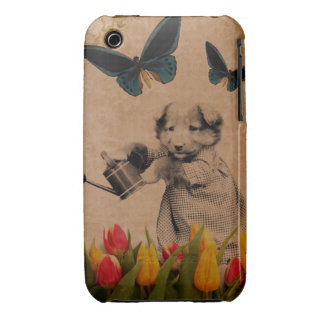 Vintage Puppy Flowers Butterfly Collage iPhone 3 Cover