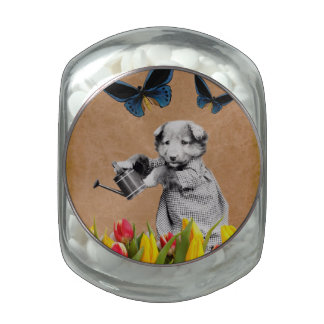 Vintage Puppy Flowers Butterfly Collagee