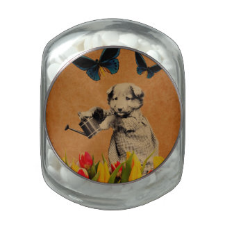 Vintage Puppy Flowers Butterfly Grunge