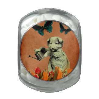 Vintage Puppy Flowers Butterfly I