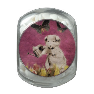 Vintage Puppy Flowers Butterfly Pink