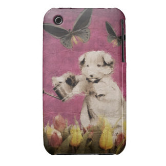 Vintage Puppy Flowers Butterfly Pink iPhone 3 Cases