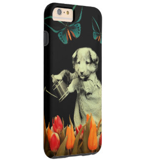 Vintage Puppy Flowers Butterfly Tough iPhone 6 Plus Case