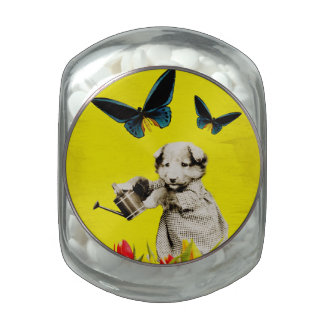 Vintage Puppy Flowers Butterfly Yellow