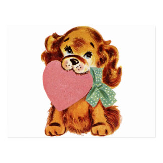Vintage Puppy Holds Heart Postcard