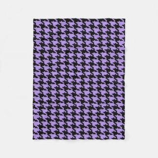 Vintage purple and black houndstooth fleece blanket