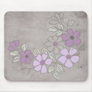 Vintage Purple and Gray Floral Wedding Mouse Pad