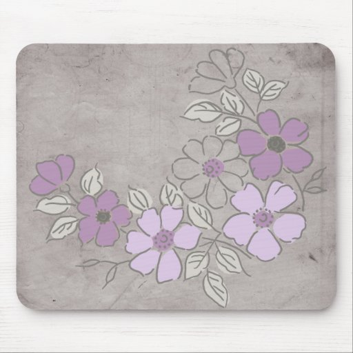 Vintage Purple and Gray Floral Wedding Mouse Pads