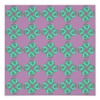 Vintage Purple and Teal Floral Print Photo Print