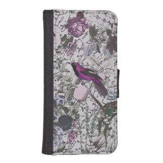 Vintage Purple Bird and Floral Print with Script Phone Wallets