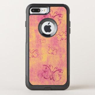 Vintage Purple Butterflies on Pink OtterBox Commuter iPhone 8 Plus/7 Plus Case