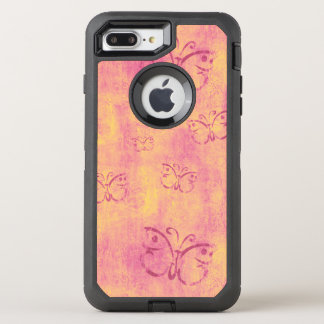 Vintage Purple Butterflies on Pink OtterBox Defender iPhone 8 Plus/7 Plus Case