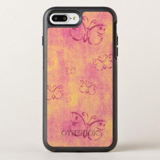Vintage Purple Butterflies on Pink OtterBox Symmetry iPhone 8 Plus/7 Plus Case