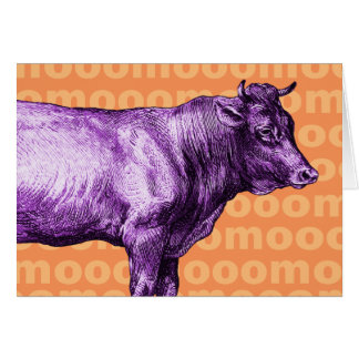 Vintage Purple Cow Moo Greeting Card