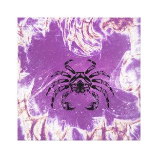 Vintage Purple Crab of Cancer Canvas Print