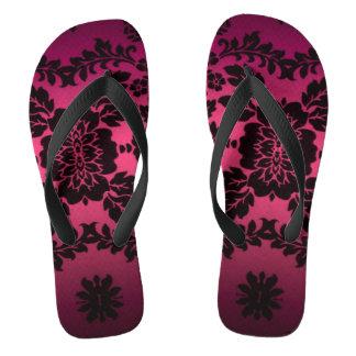 Vintage Purple Floral Pattern Flip Flops