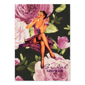 vintage purple floral retro pin up girl card