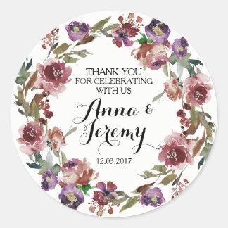 Vintage Purple Floral Wreath Wedding Sticker