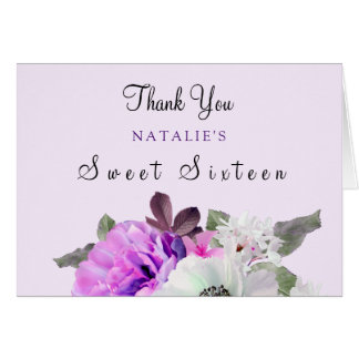 Vintage Purple Flower Sweet 16 Thank You Card