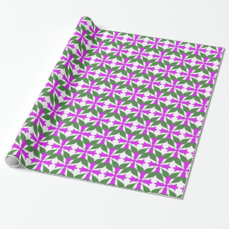 Vintage Purple Flower With Green Leaves Wrapping Paper
